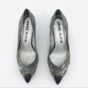 Silver and Gray Anne Klein Kitten Heels Size 9.5